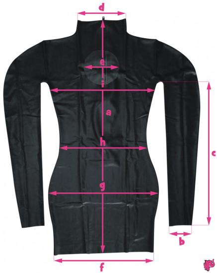 Latexové šaty - rozmery