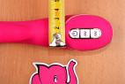 Vibrátor Raspberry Rabbit, s dvojitým silikónom - meriame šírku u ovládanie