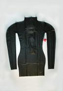 Latexové šaty s dlhým rukávom spredu