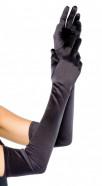 Saténové rukavice Fingerprint, čierne