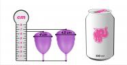Menštruačný kalíšok Libicup, rozmery v porovnaní s plechovkou