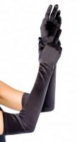 Saténové rukavičky Fingerprint, čierne